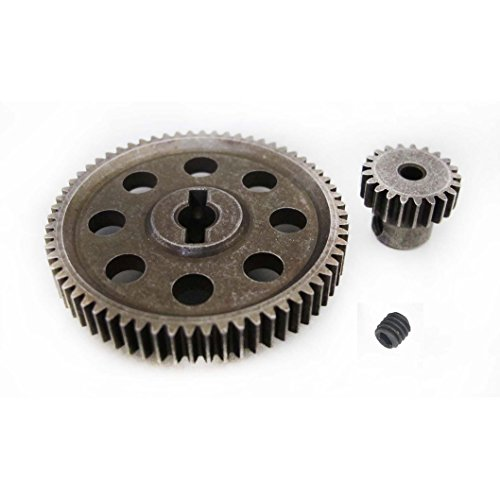 JFtech 11184 & 11181 Differential Steel Metal Super Gear Main Gear 64T & Motor Gear 21T Combo for RC HSP 1/10 Car Truck (Metal Differential Gear)