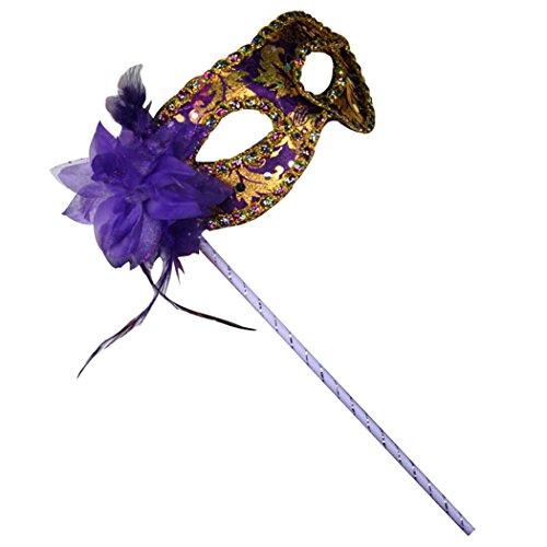 Clearbridal Women's Venetian Purple Masquerade Mask On Stick CMJ015PL