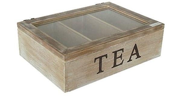 TEA Box caja baúl caja madera marrón envejecido Teekiste tapa de cristal: Amazon.es: Juguetes y juegos