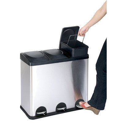 The Step N' Sort, 3  Compartment 12 Gallon/45 Litre Trash and Recycling Bin by Step N' Sort