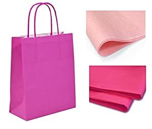x 10 BRIGHT PINK GIFT BAGS WITH TISSUE PAPER - CHRISTMAS ...