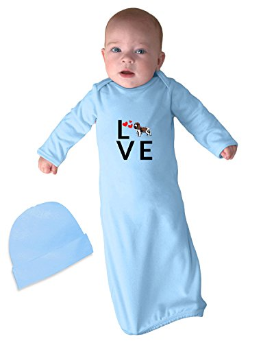 King Of Hearts Robe (KING CHARLES SPANIEL DOG Love Hearts Infant Baby Rib Layette Sleeping Gown Light Blue Set)