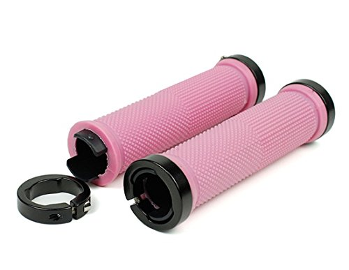 Bike Bicycle MTB Fixed Gear Fixie Lock-on Grips Rubber Handlebar Grips (Pink)