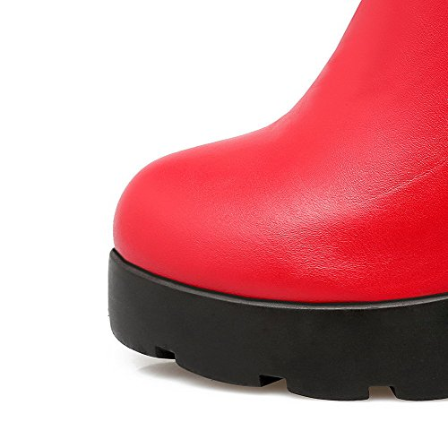 VogueZone009 Damen PU Leder Niedrig-Spitze Rein Reißverschluss Stiefel mit Metallisch Rot