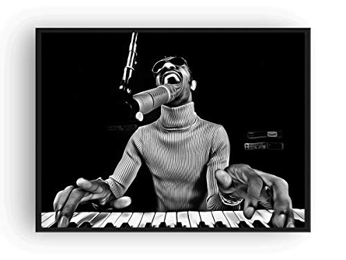 Mile High Media Stevie Wonder Poster Fine Art Canvas Black and White Print (24x36)