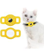 AirTag Siliconen Hoesje voor Huisdier Halsband, AirTag Case met Beschermende HD High Clear Film, Verstelbare Draagbare GPS Finder Case voor Kat Hondenhalsband 2 STKS (2-Geel)