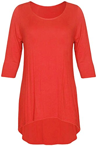New Womens Plus Size Uneven Dip Hem Long Tunic Tops, Rust , EU 44
