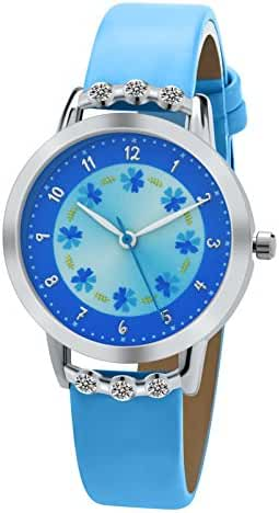 Dovoda Girls Watches Easy Reader Time Teacher Flowers Diamond Blue Leather Kids Watch