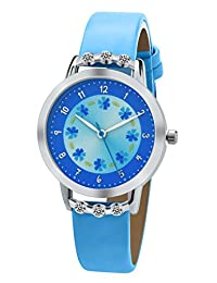 DOVODA Girl Watches Easy Reader Time Teacher Flowers Diamond Blue Leather Watch for Kids