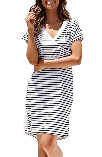 NERLEROLIAN Women T-Shirt Stripe Dress with Pockets V-Neck Knee Length Loose Tunic Summer Dress (Navy Stripe,S)
