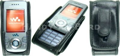 caseroxx Leather-Case with belt clip for SonyEricsson S500i/W580i made of real leather with belt-clip in black (W580i Clip)