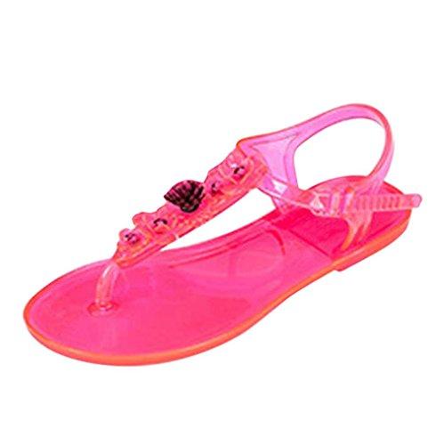 Anxinke Mujeres Summer Beach Zapatos Simple Diseño Clip Toe Sandalias Planas Hot Pink
