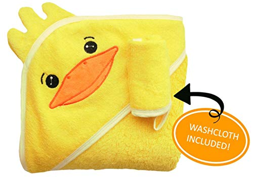 (Yellow Duck 100% Bamboo Premium Hooded Towel and Washcloth Set for Babies & Toddlers - Soft & Absorbent for Baby's Sensitive Skin - Baby Towel for Pool & Beach - Unisex & Neutral Baby Shower Gift)