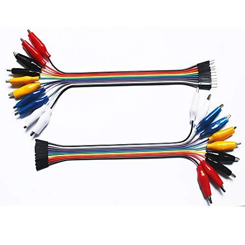 Haitronic Unique 2 in 1 Alligator Clip to Dupont Wire 10pin 20cm Male, Crocodile Clip to Jumper Wire 10pin 20cm Female for Test Lead Arduino/Raspberry pi/Orange pi/Makey Makey/BBC Micro: bit