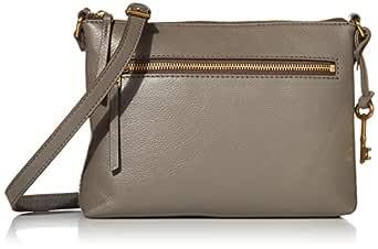 Fossil Women's Fiona Leather Crossbody Handbag, Grey