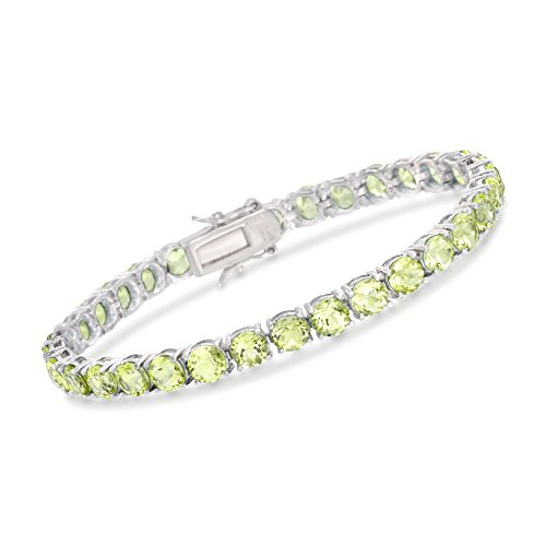 (Ross-Simons 16.00 ct. t.w. Peridot Tennis Bracelet in Sterling Silver)