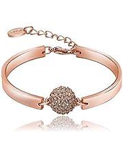 Swarovski elements 18K rose gold plated lady diamond bangle bracelet