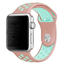Soft Durable Sport Replacement Wrist Strap for iWatch Series 1 Series 2 Apple watch band 42mm M/L-Pink+Mint