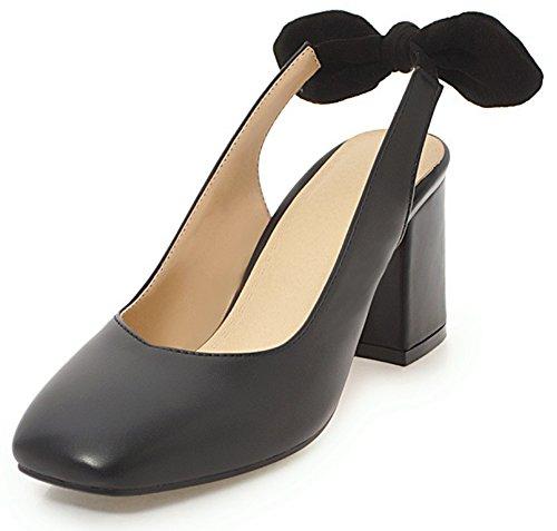 (SFNLD Women's Elegant Bowknot Closed Square Toe Low Cut High Block Heels Slingback Sandals Black 10.5 B(M) US)