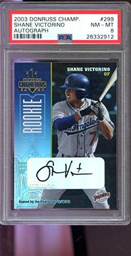 2003 Donruss Champions Baseball - 2003 Donruss Champions ROOKIE #299 Shane Victorino 341/480 Signed Autograph AUTO Graded Baseball MLB Card PSA 8