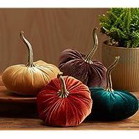Velvet Pumpkins Set of 4 Includes Rust Gold Emerald and Brown, Handmade Home Decor, Holiday Mantle Decor, Fall Halloween Thanksgiving Centerpiece, Rustic Fall Wedding Centerpiece Decor