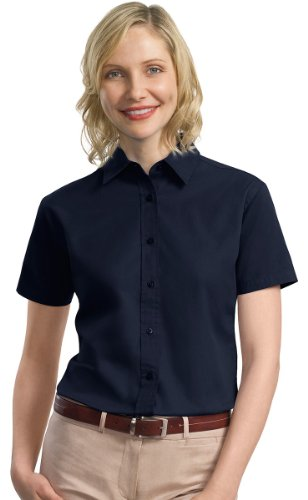 Port Authority Ladies Short Sleeve Cotton Twill Shirt, S, Navy ()
