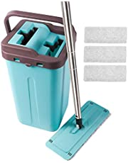 Squeeze Flat Mop, 1 Bucket, Wet Dry Floor Cleaning Hand Free, 4 Reusable Microfiber Mop Pads for Home Kitchen Floor Cleaning, Stainless Steel Handle