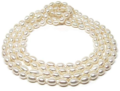HinsonGayle AAA Handpicked 7-7.5mm Ultra-Luster White Oval Freshwater Cultured Pearl Rope 65 inch Strand