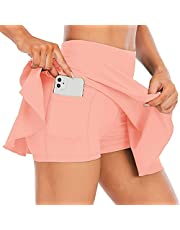 Tennis Skirt, White Pleated Tennis Skirt, Women's Active Athletic Skort with Pockets Pleated Mini Skirts Activewear Inner Shorts for Running Golf Sports Badminton Volleyball