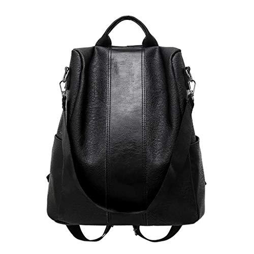 LONGDAY Women Soft Leather Backpack Antitheft Rucksack Ladies Shoulder Bag Medium Purse PU Washed Leather Convertible Black