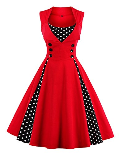 Vintage Fashion Retro (Lealac Women's Summer Cotton Polka Dot Retro Floral Vintage Style Cocktail Party Swing Dress L4-D1357 Red XL)