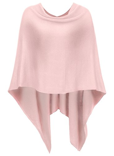 DJT Womens Solid Knit Short Asymmetric Wrap Poncho Topper Pink
