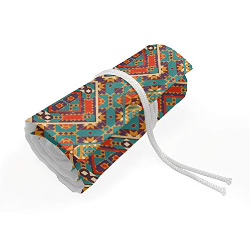 Ambesonne Turquoise Pencils Case Wrap Roll Holder, Indigenous Art Drawing Folk Tile Tribal, Durable & Portable Canvas Pencil Organizer, 36 Loops, Turquoise and Orange from Ambesonne