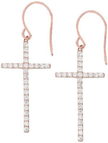 Stering Silver East2West Cross Cubic Zirconia Earrings