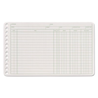 Adams ARB58100 Ledger Binder Refill Sheets 6-Ring 5 x 8 1/2 Green/White 100 Sheets/Pack
