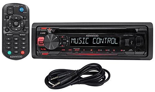 Kenwood KDC-115U In-Dash Car CD Player Receiver Stereo MP3/USB/Aux+Remote+Cable (Kenwood Indash Cd Player)