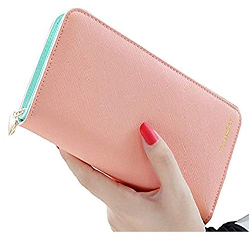 ID Blocking Fashion Clutch Zipper Colorful Leather Long Purse Wrist Strap with Phone Pocket (Pink) ()