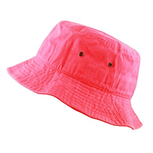THE HAT DEPOT Youth Kids Washed Cotton Packable Bucket Travel Hat Cap (4-6yrs, Hot Pink)