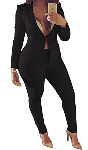 (JOKHOO Women's Solid White Professional OL Blazer Deep V-Neck Suits 2 Piece (M, Black))