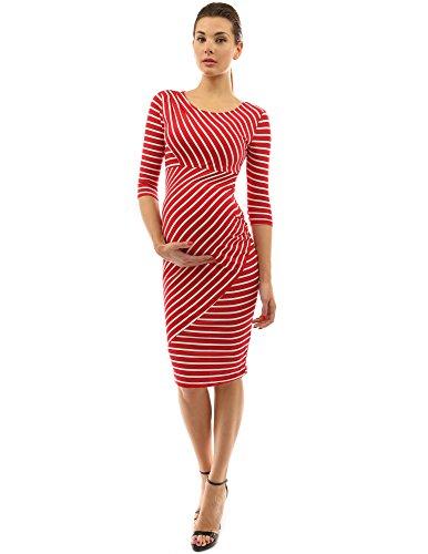 PattyBoutik Mama Striped Elbow Sleeve Maternity Dress