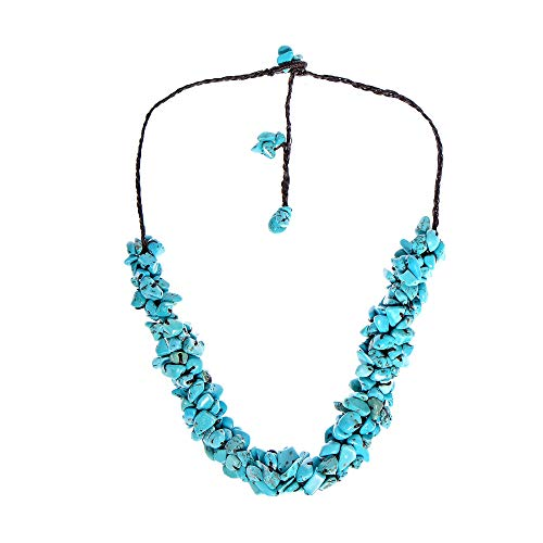 (AeraVida Simulated Turquoise Handmade Nuggets Wax Rope Choker)