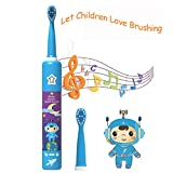 Kids Electric Toothbrush Rechargeable USB Charging Powered Up to 30 Days, Smart Timer 3 Modes Waterproof Travel Sonic Toothbrushes 2 Brush Heads Soft Bristles Deep Clean As Dentist for Child Age 3+