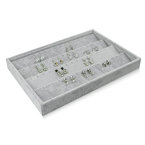 Earring Display Tray - BOCAR Grey Velvet Earring Jewelry Display Showcase Organizer Holder(GP-EH)