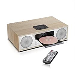 Britz BZ-T7500 Premium All in One Wireless Bluetooth Speaker, CD Micro Audio System, Alarm, Clock, Radio, Wooden Cabinet