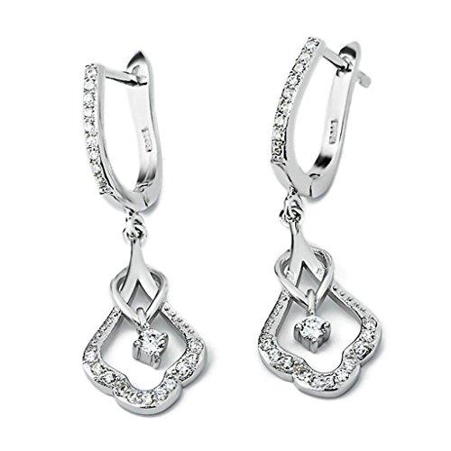 [MoAndy Women Silver Earrings Fashion Jewelry Cubic Zirconia Dangle Earrings Silver Earrings For] (Girls Jade Princess Costumes)