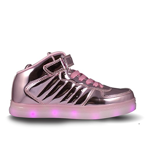 Proskate LED Light Up Shoes with USB Charger High Top Kids/Adults (5 M US Big Kid / 7 M US Women, Metallic Pink)