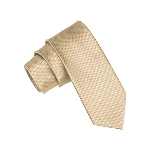 Mens Skinny Tie Teens Solid Color Neckties 2 Inch - Solid Gold Construction