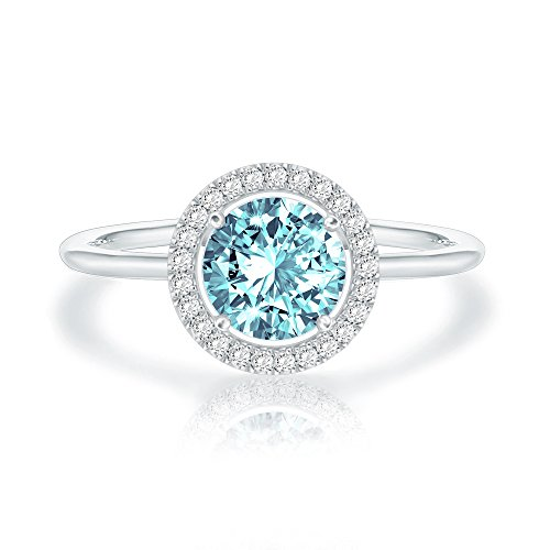 Stretch Band Bead Ring - Swarovski Crystal 14K White Gold Plated Birthstone Rings | White Gold Rings for Women | Aquamarine Ring