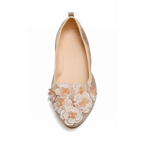Mee Shoes Damen süß mit Blume flach Geschlossen Pumps Gold