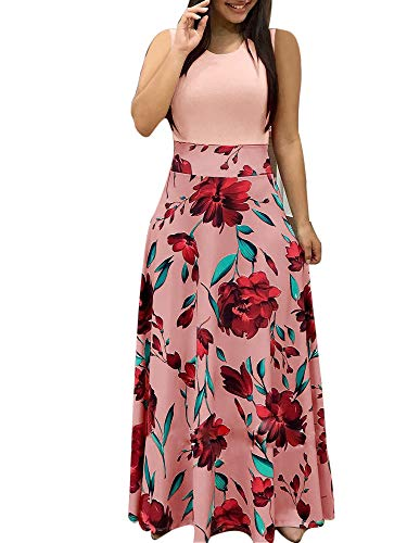 Aublary Womens Long Sleeve Maxi Dress Round Neck Floral Print Casual Tunic Long Maxi Dress (2XL, Pink-Sleeveless) ()